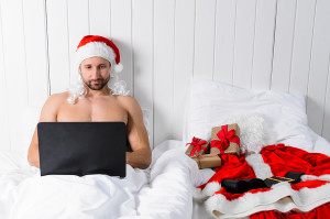 Santa Claus in hotel room without costume shopping for Christmas or New Year. 10 Christmas design ideas