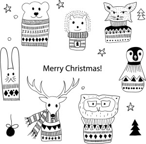 Vector Christmas Greeting Cards with Doodle Animals. 10 Christmas design ideas
