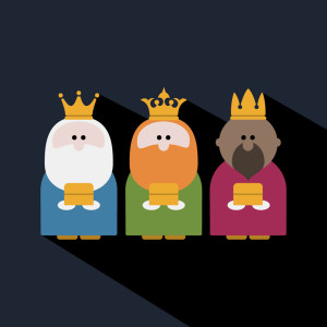 Three Kings on Epiphany day and a dark background. 10 Christmas design ideas