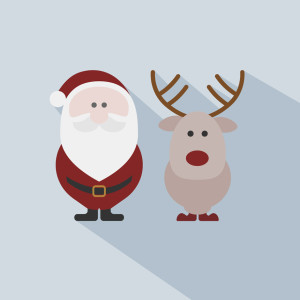Santa Claus with reindeer on grey background. 10 Christmas design ideas